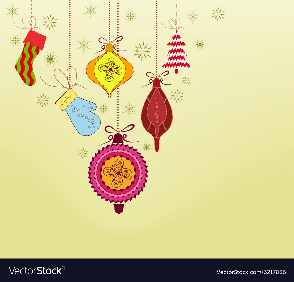 Retro christmas ornaments vector