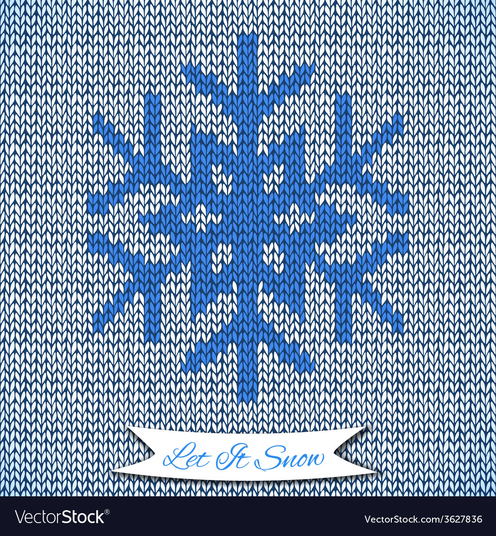 Seamless pattern with knitted snowflake vector | Price: 1 Credit (USD $1)