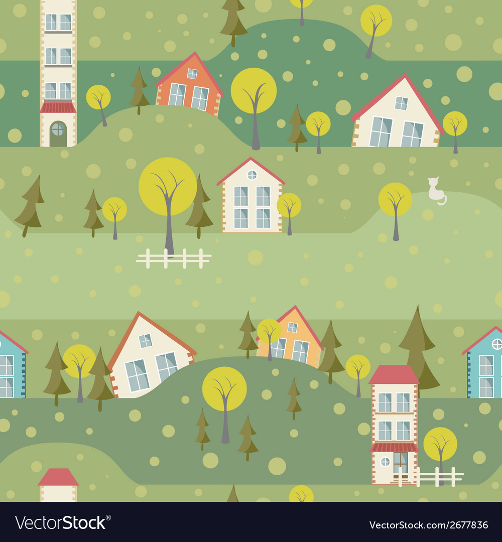 Seamless pattern with village and houses vector | Price: 1 Credit (USD $1)