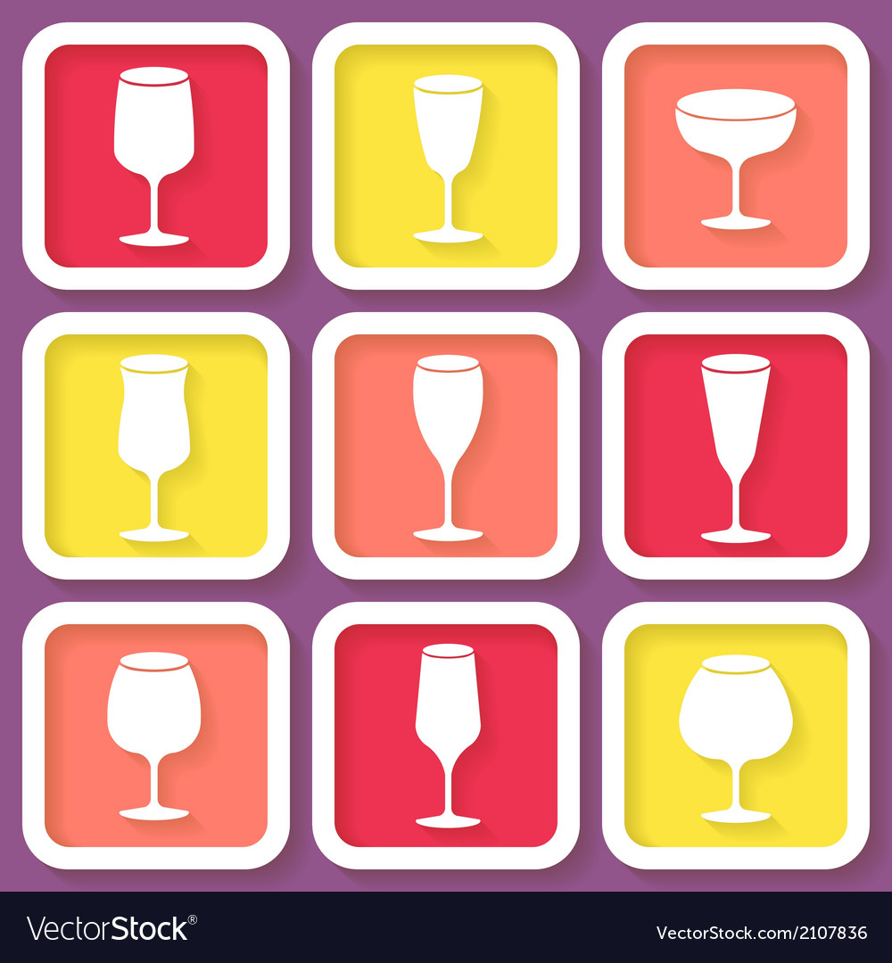 Set of 9 retro icons with wine glasses vector | Price: 1 Credit (USD $1)