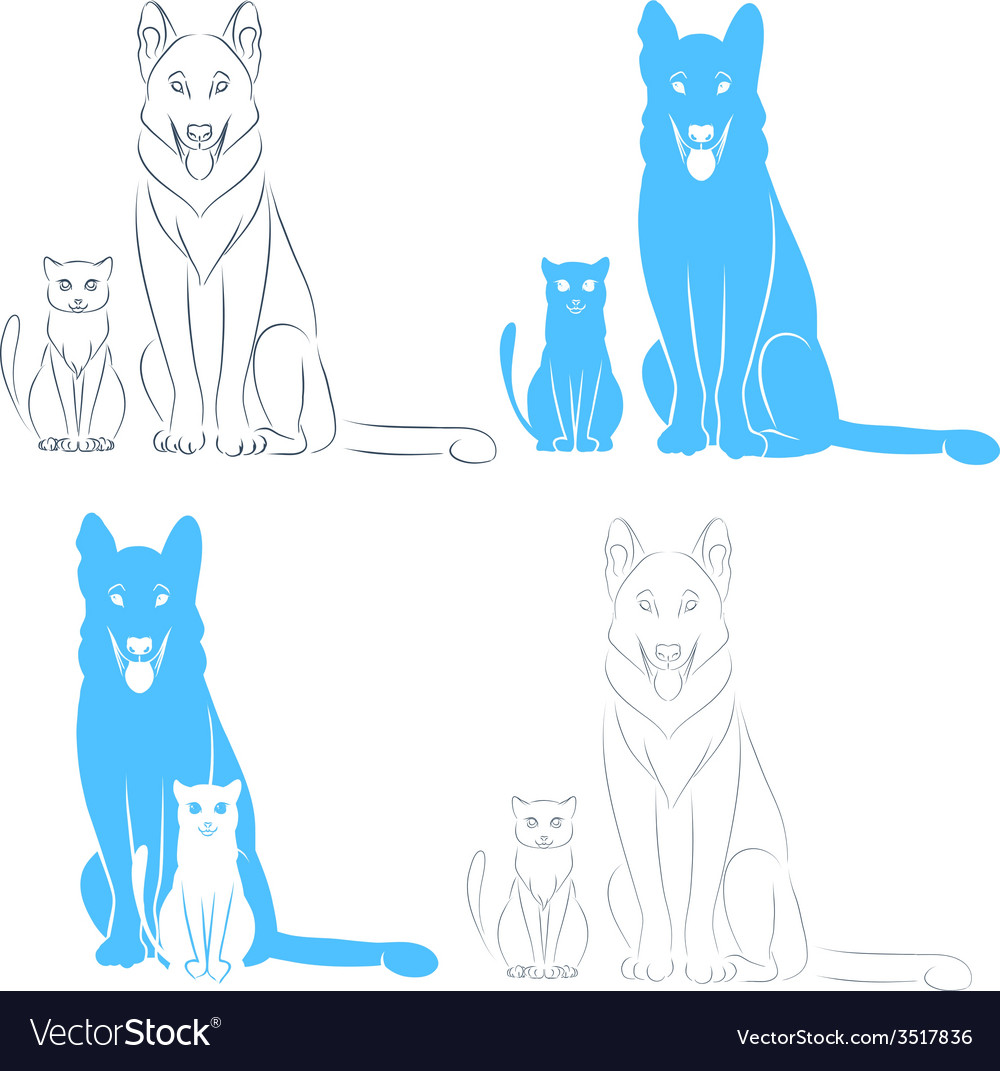 Sitting cat and dog vector | Price: 1 Credit (USD $1)