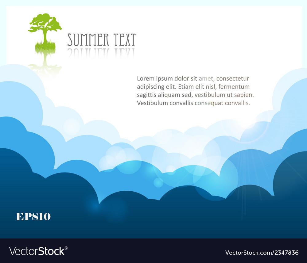 Sun on blue sky vector | Price: 1 Credit (USD $1)