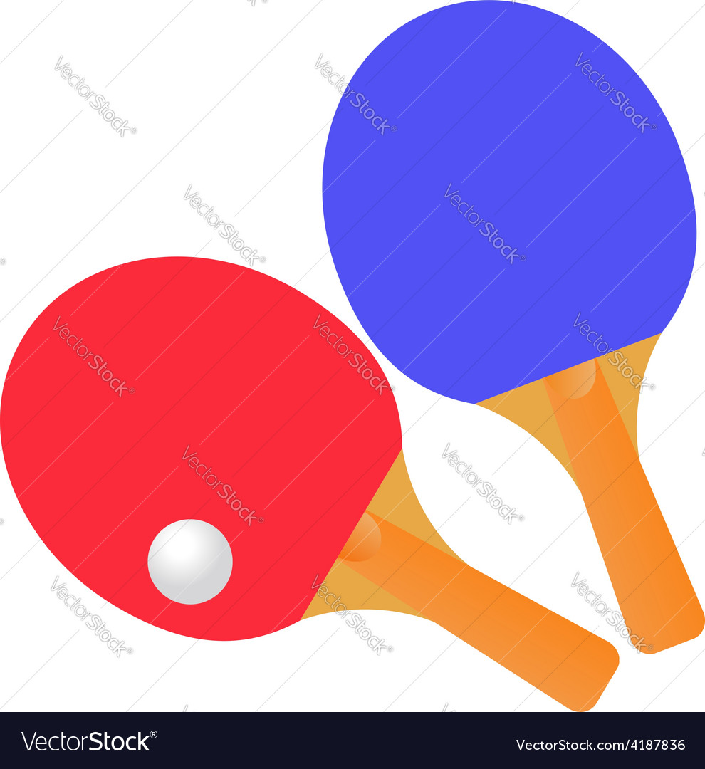 Table tennis rackets and ball on a white vector   Price: 1 Credit (USD $1)