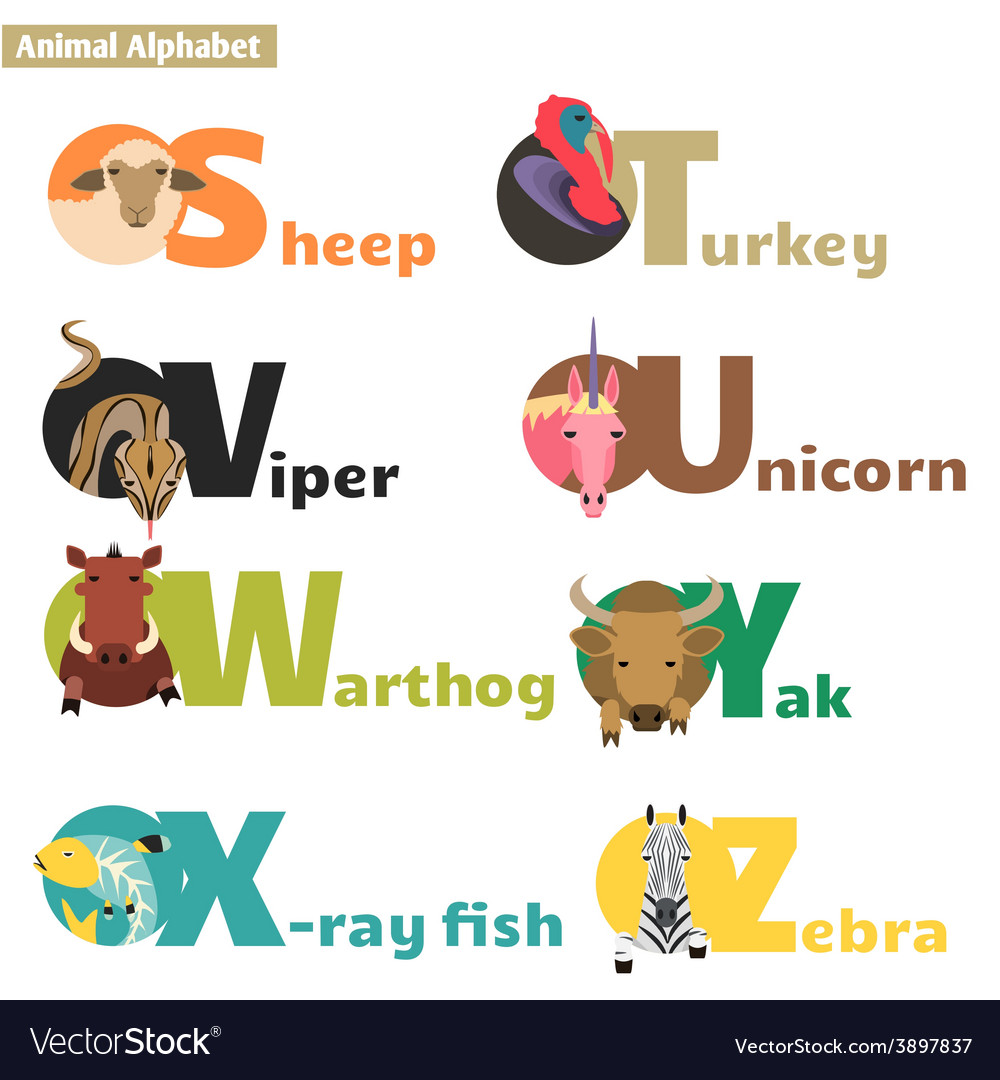 Animal alphabet 4 vector | Price: 1 Credit (USD $1)