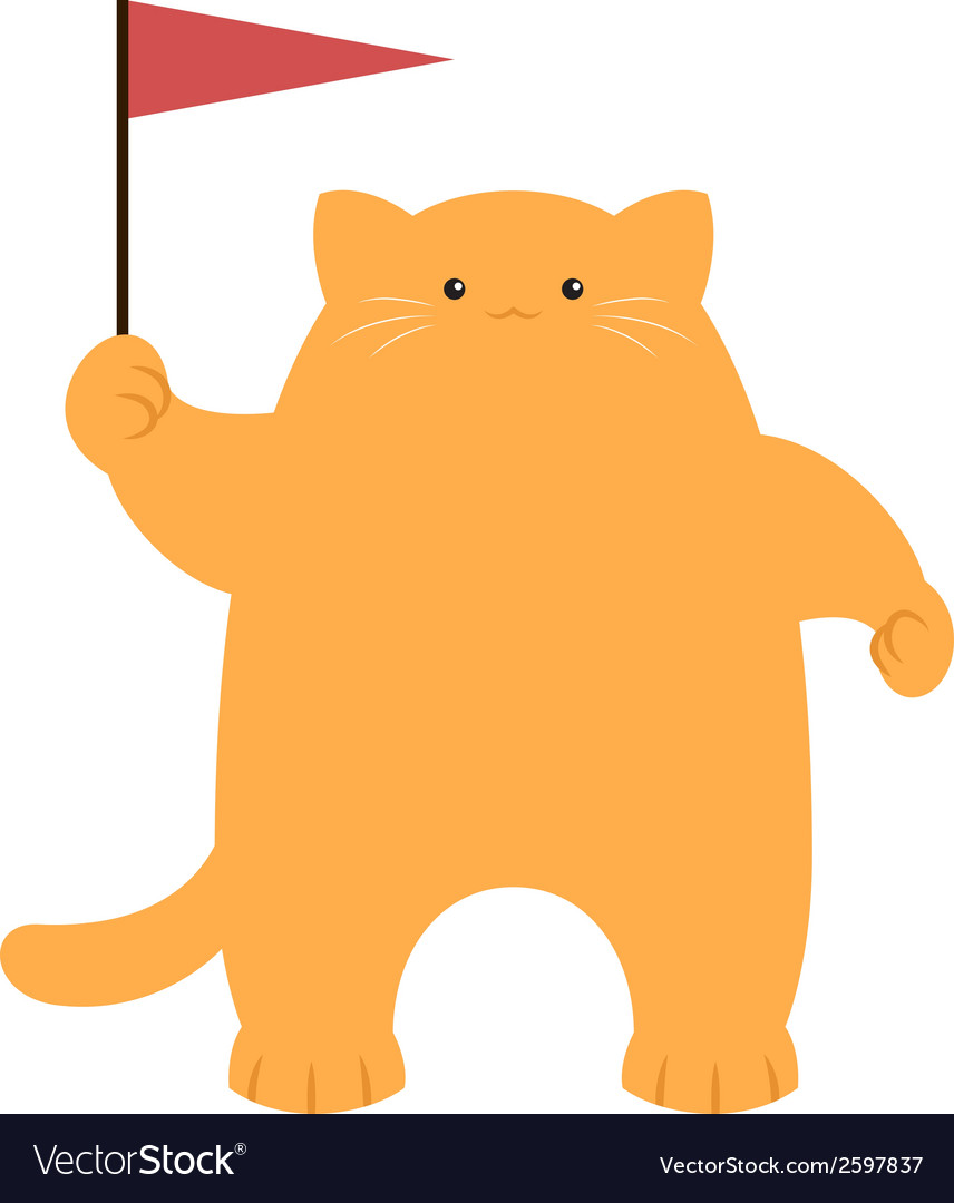 Cat and a flag vector   Price: 1 Credit (USD $1)