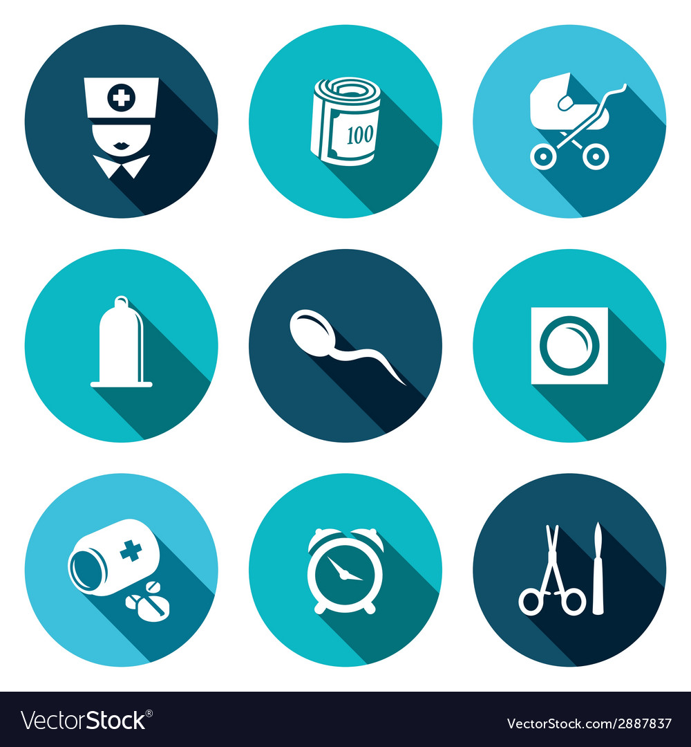 Conception pregnancy birth icon set vector | Price: 1 Credit (USD $1)
