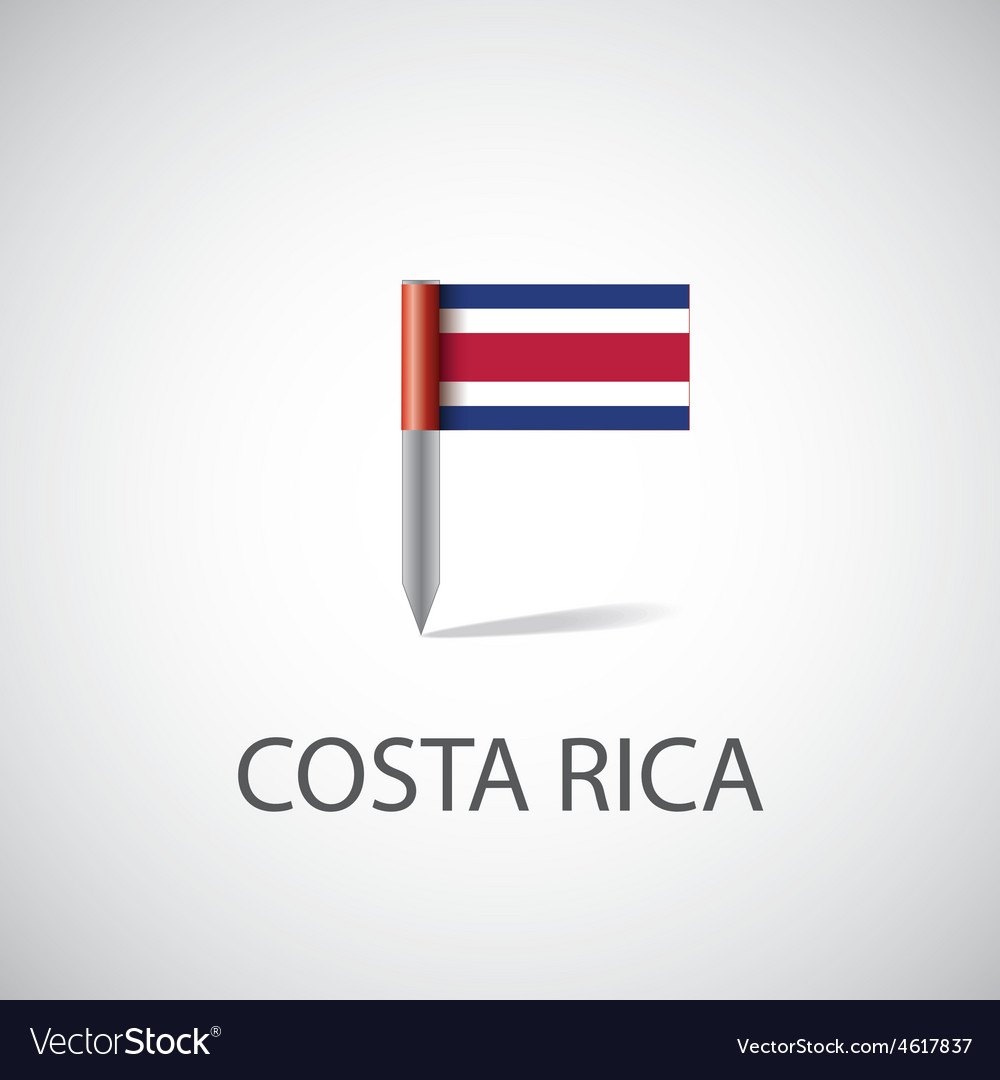 Costa rica flag pin vector | Price: 1 Credit (USD $1)