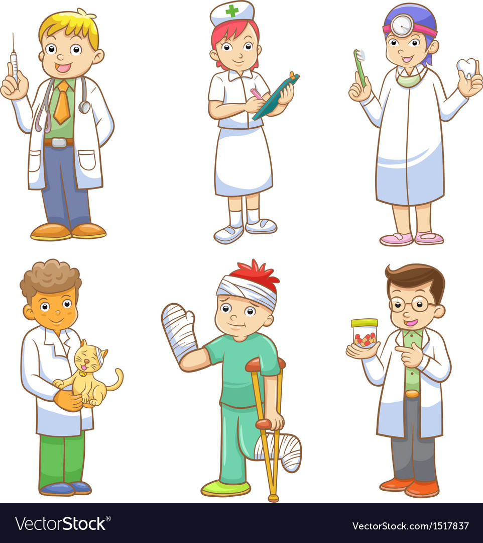 Doctor and medical person cartoon set vector | Price: 5 Credit (USD $5)