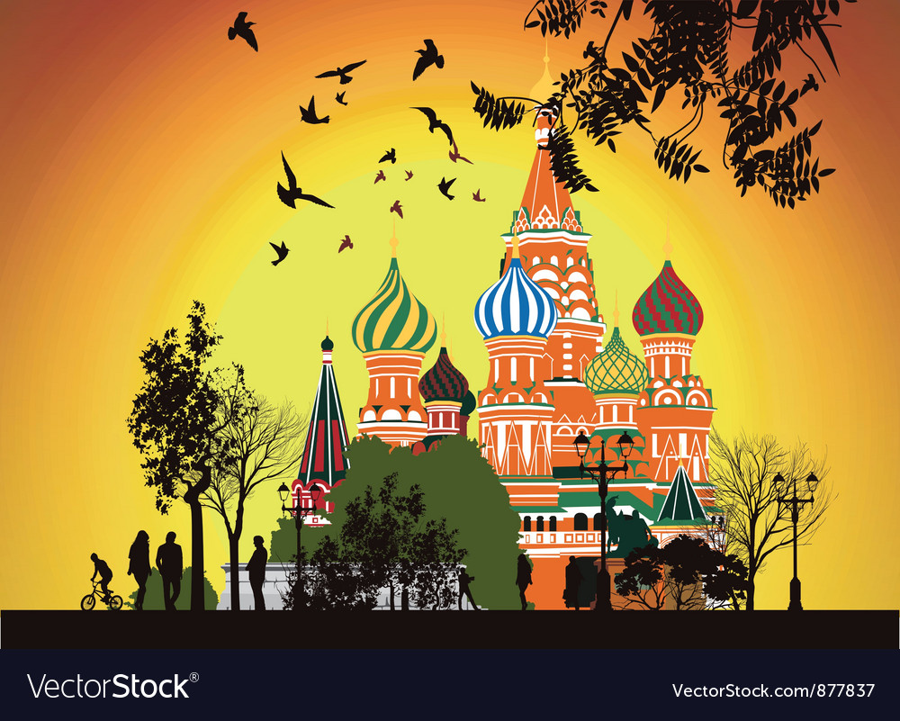 Lot of people walking on the red square at sunset vector | Price: 3 Credit (USD $3)