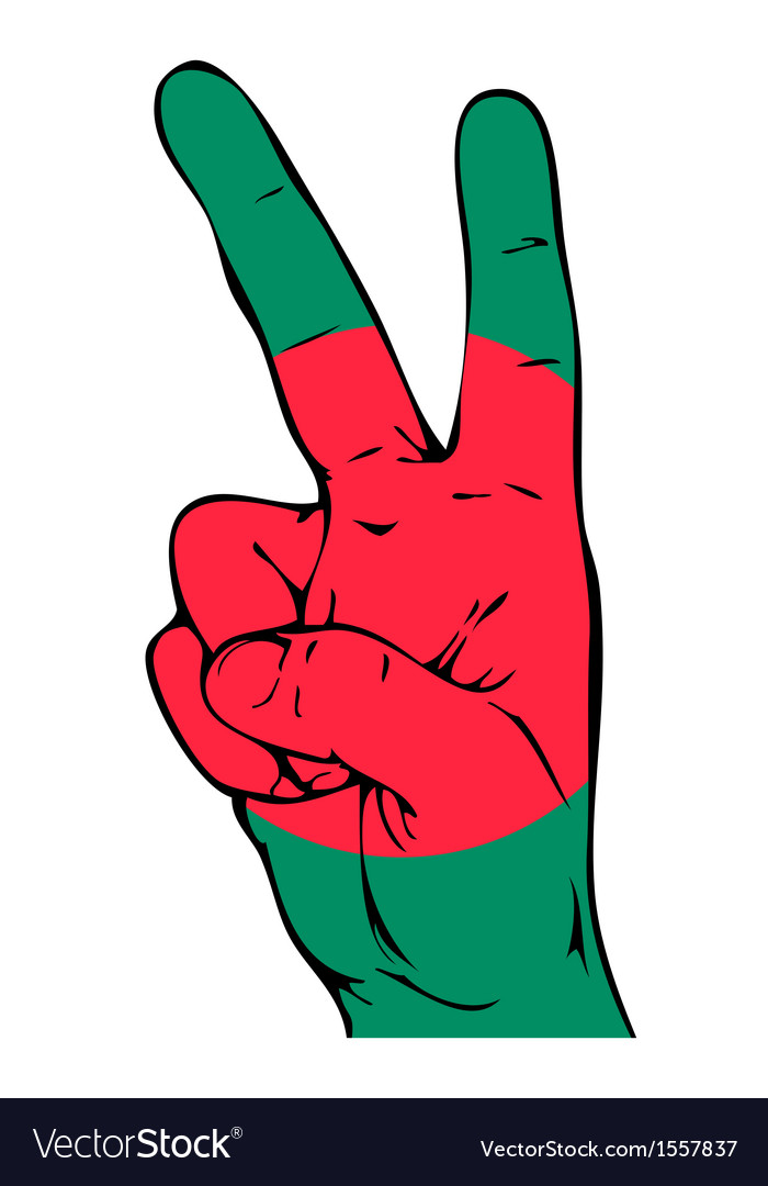 Peace sign of the bangladeshi flag vector | Price: 1 Credit (USD $1)