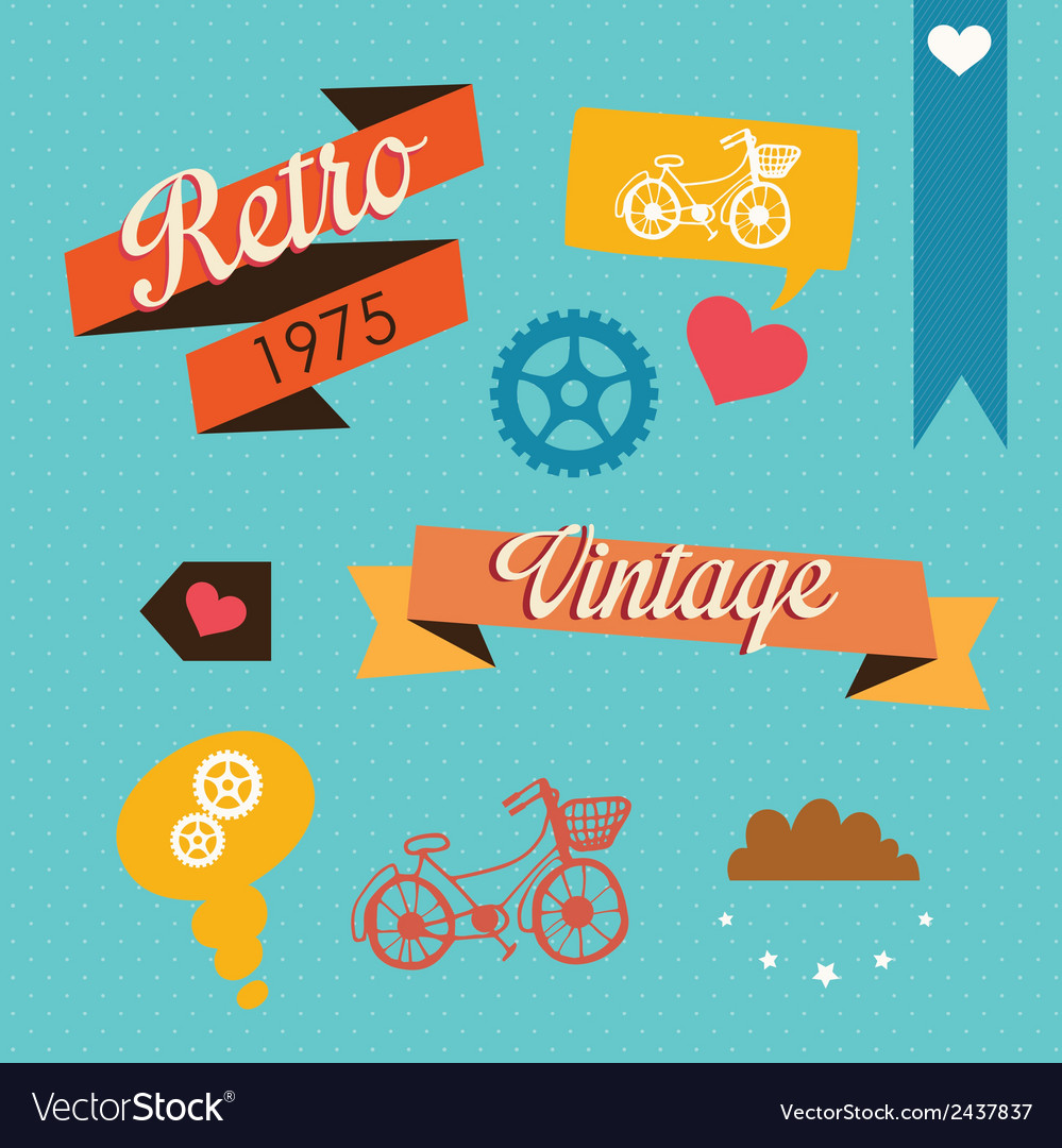 Retro icons vector | Price: 1 Credit (USD $1)