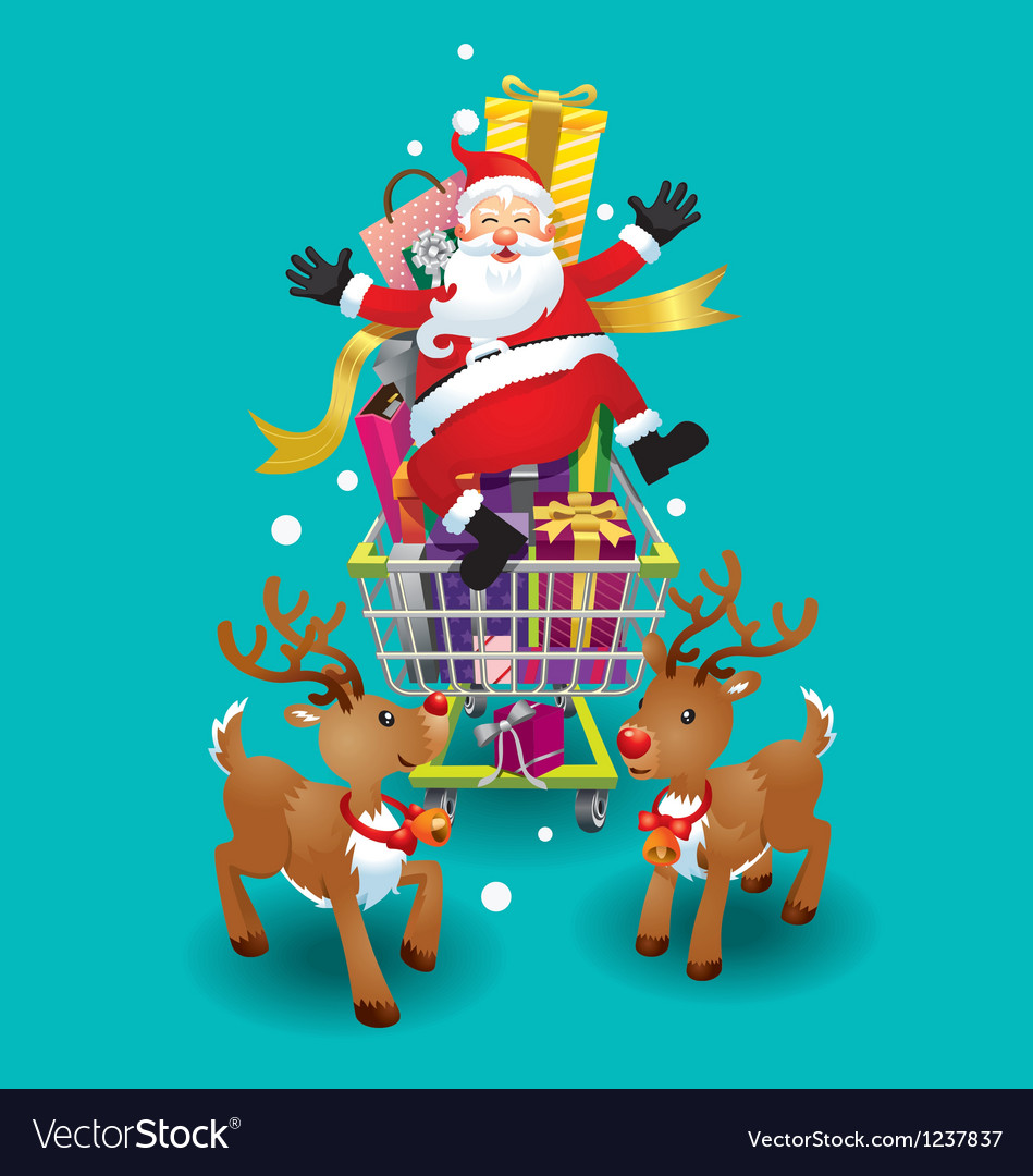 Santa claus and reindeer christmas day vector | Price: 3 Credit (USD $3)