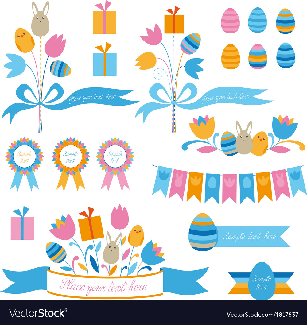 Set of easter design elements vector | Price: 1 Credit (USD $1)