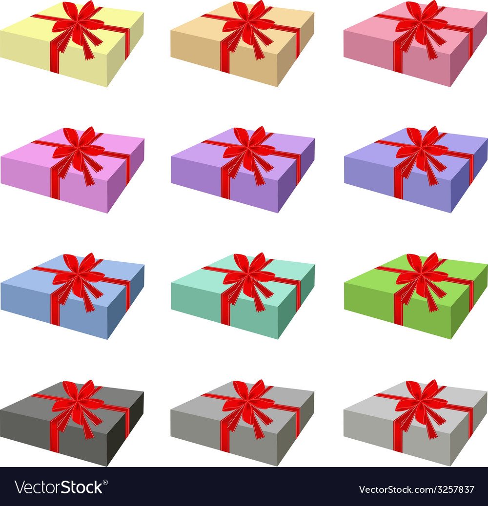 Set of lovely gift box with red ribbon vector | Price: 1 Credit (USD $1)