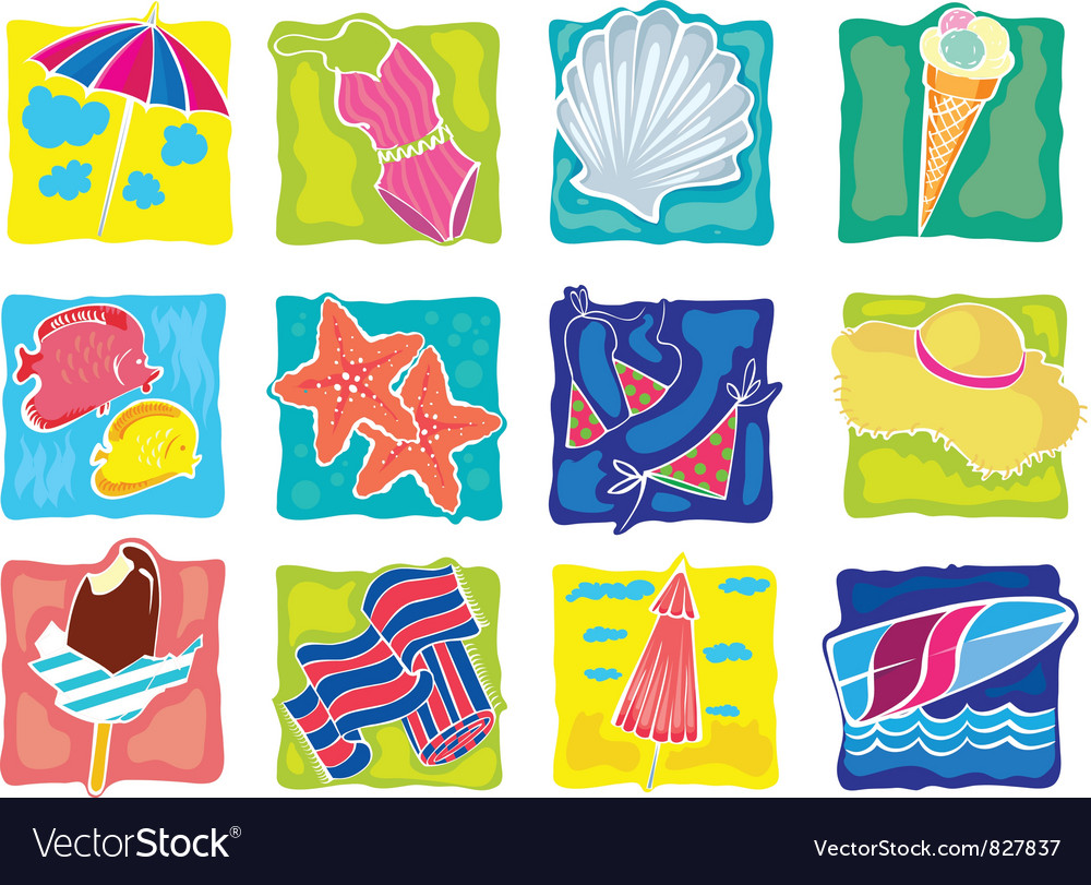 Summer cliparts set vector | Price: 1 Credit (USD $1)