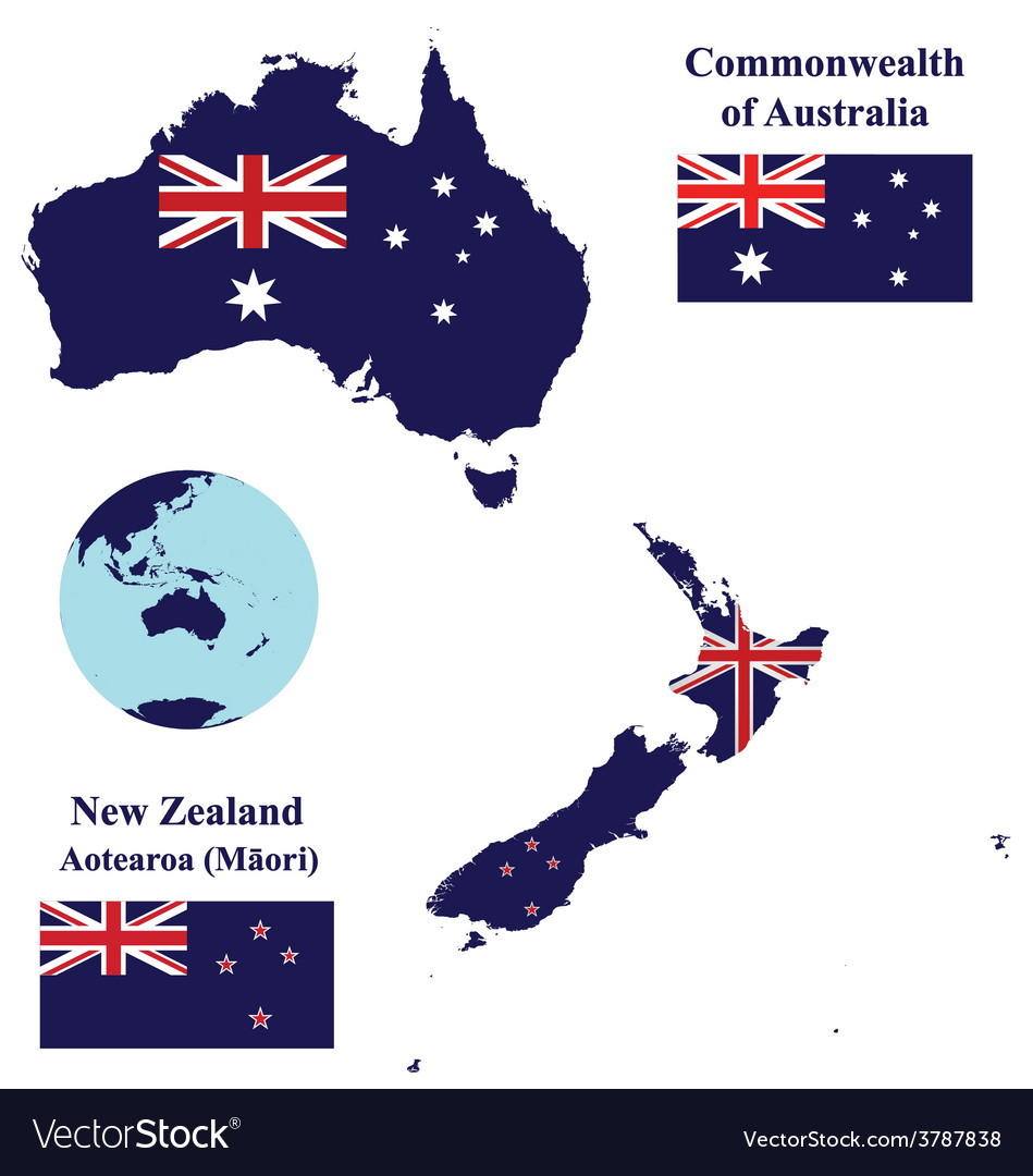 Australia and new zealand map flag vector | Price: 1 Credit (USD $1)