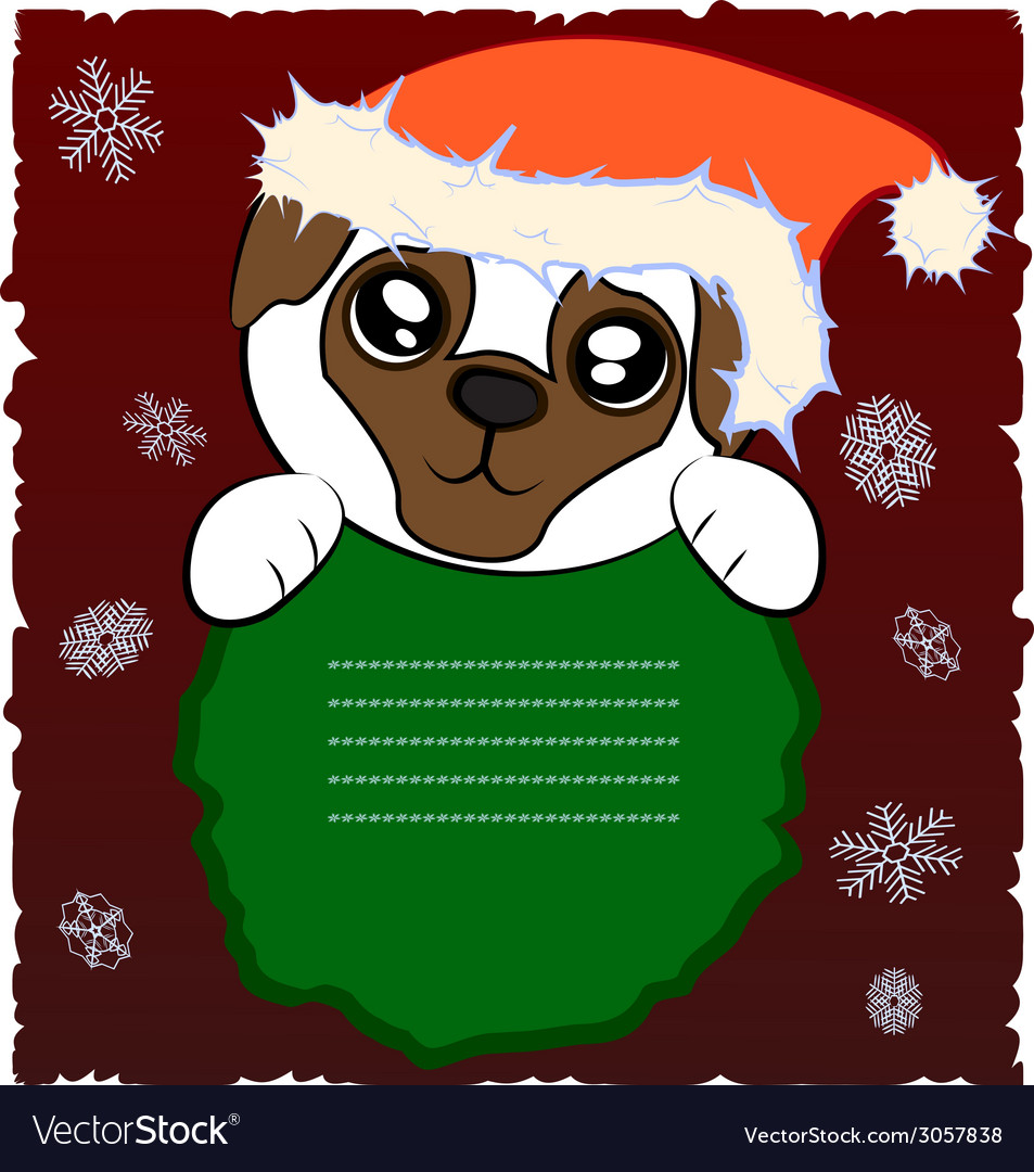 Christmas pug vector | Price: 1 Credit (USD $1)