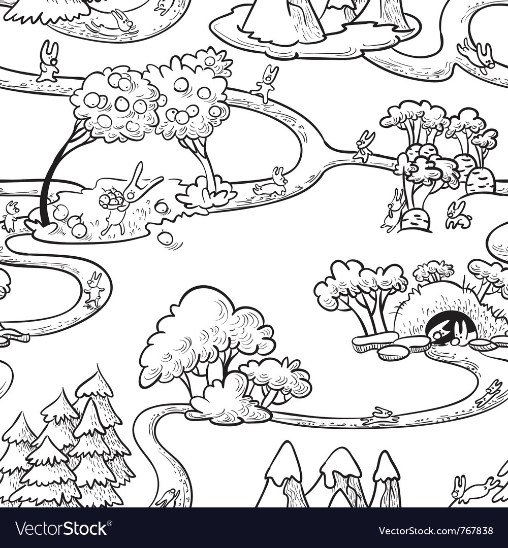 Cute hand-drawn doodle seamless with rabbits vector | Price: 1 Credit (USD $1)