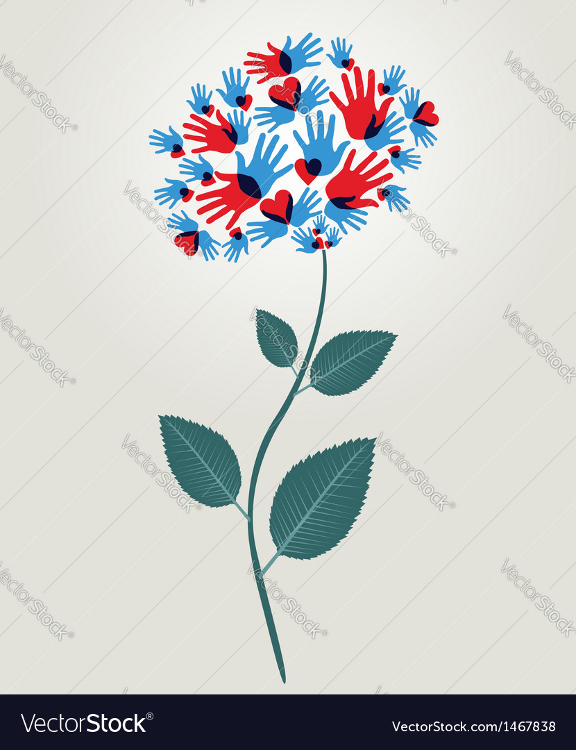 Diversity hands flower vector | Price: 1 Credit (USD $1)