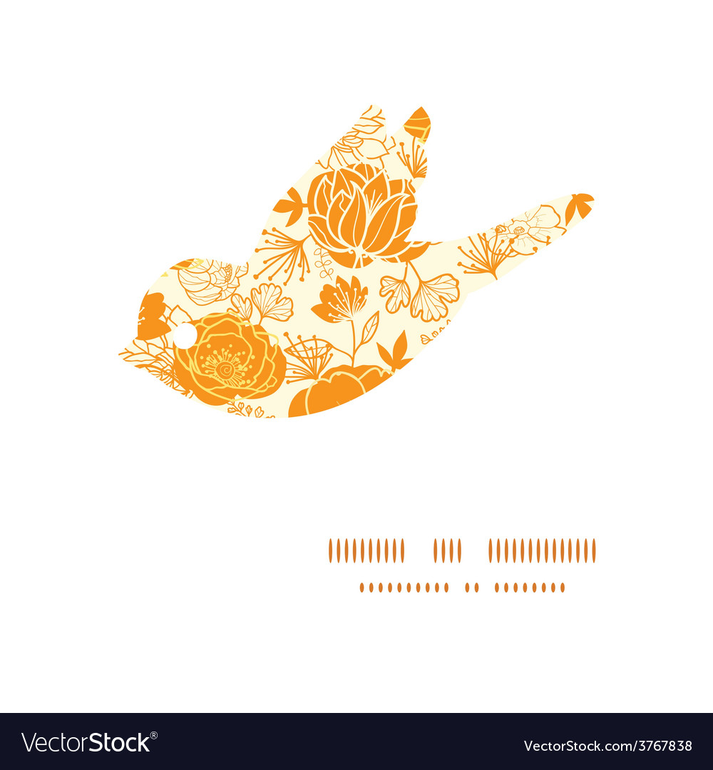 Golden art flowers bird silhouette pattern vector | Price: 1 Credit (USD $1)