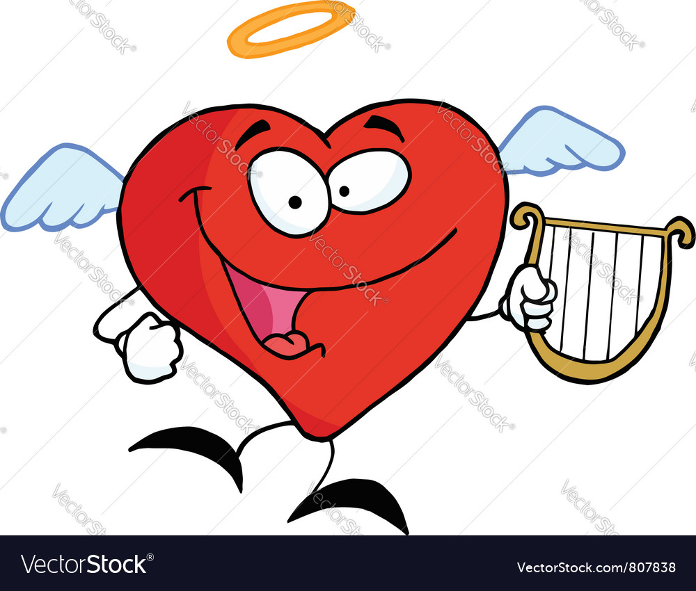 Heart angel flying with lyre vector | Price: 1 Credit (USD $1)