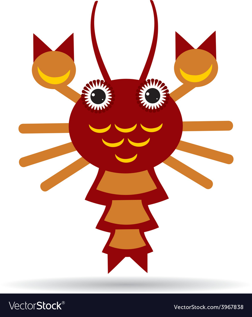 Red lobster on a white background vector | Price: 1 Credit (USD $1)