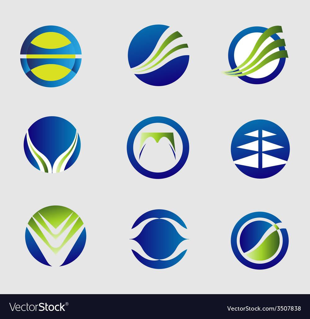 Round logo icon element set vector | Price: 1 Credit (USD $1)