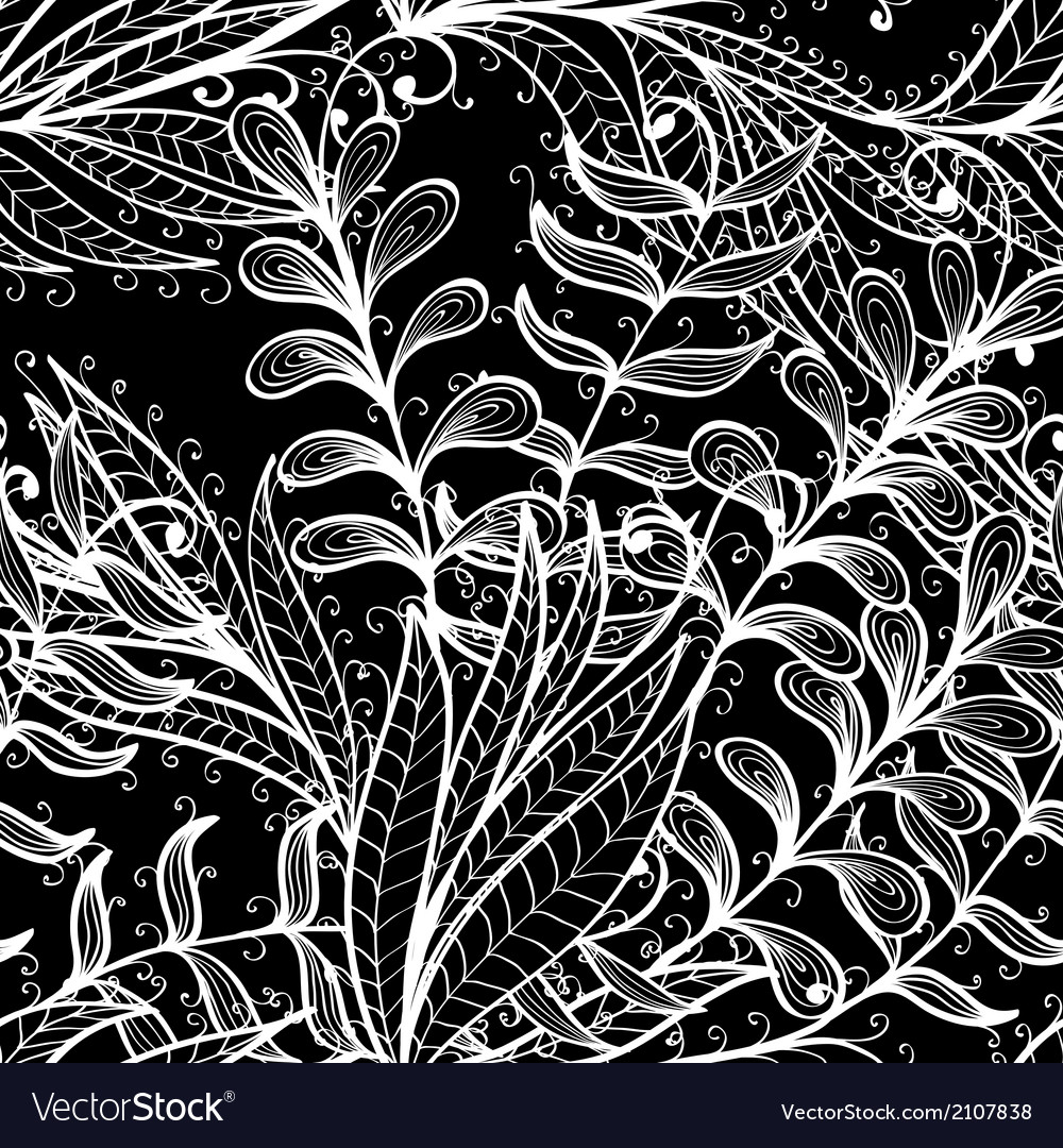 Seamless hand drawn black and white pattern vector | Price: 1 Credit (USD $1)