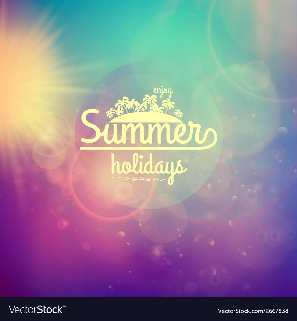 Summer holidays sunset with defocused lights vector | Price: 1 Credit (USD $1)