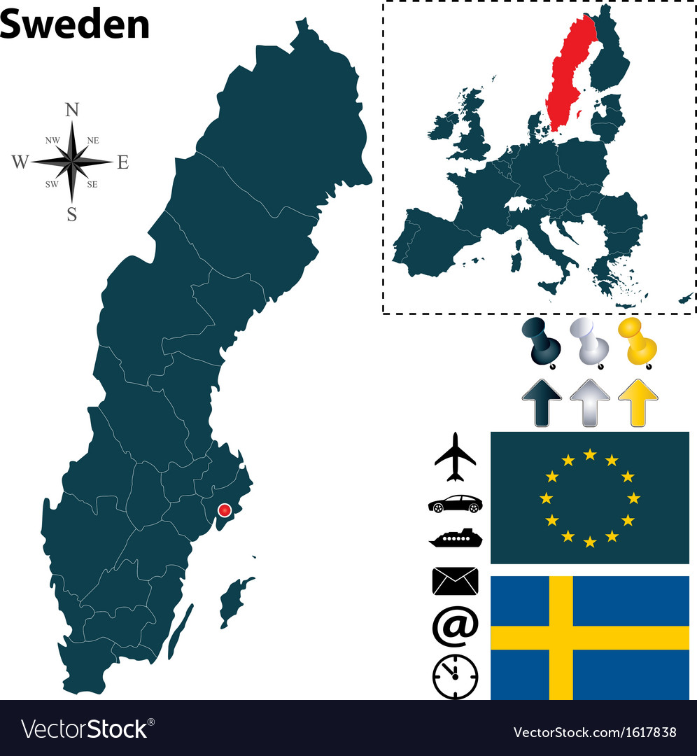 Sweden and european union map small vector | Price: 1 Credit (USD $1)