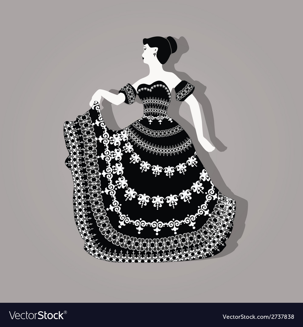 Vintage elegant woman vector | Price: 1 Credit (USD $1)