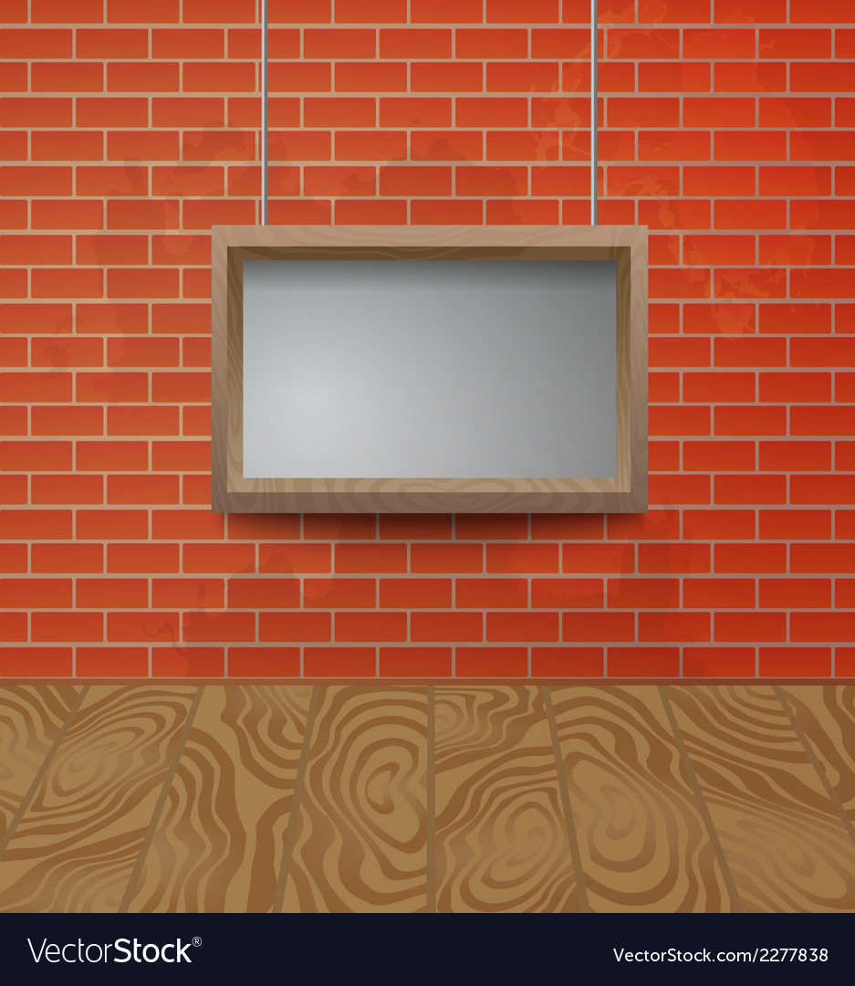 Wooden frame on the brick wall background vector | Price: 1 Credit (USD $1)