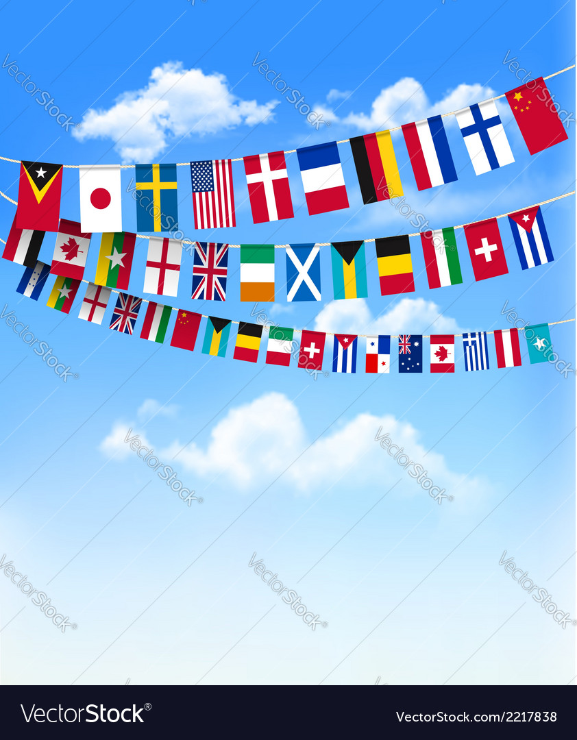World bunting flags on blue sky vector | Price: 1 Credit (USD $1)