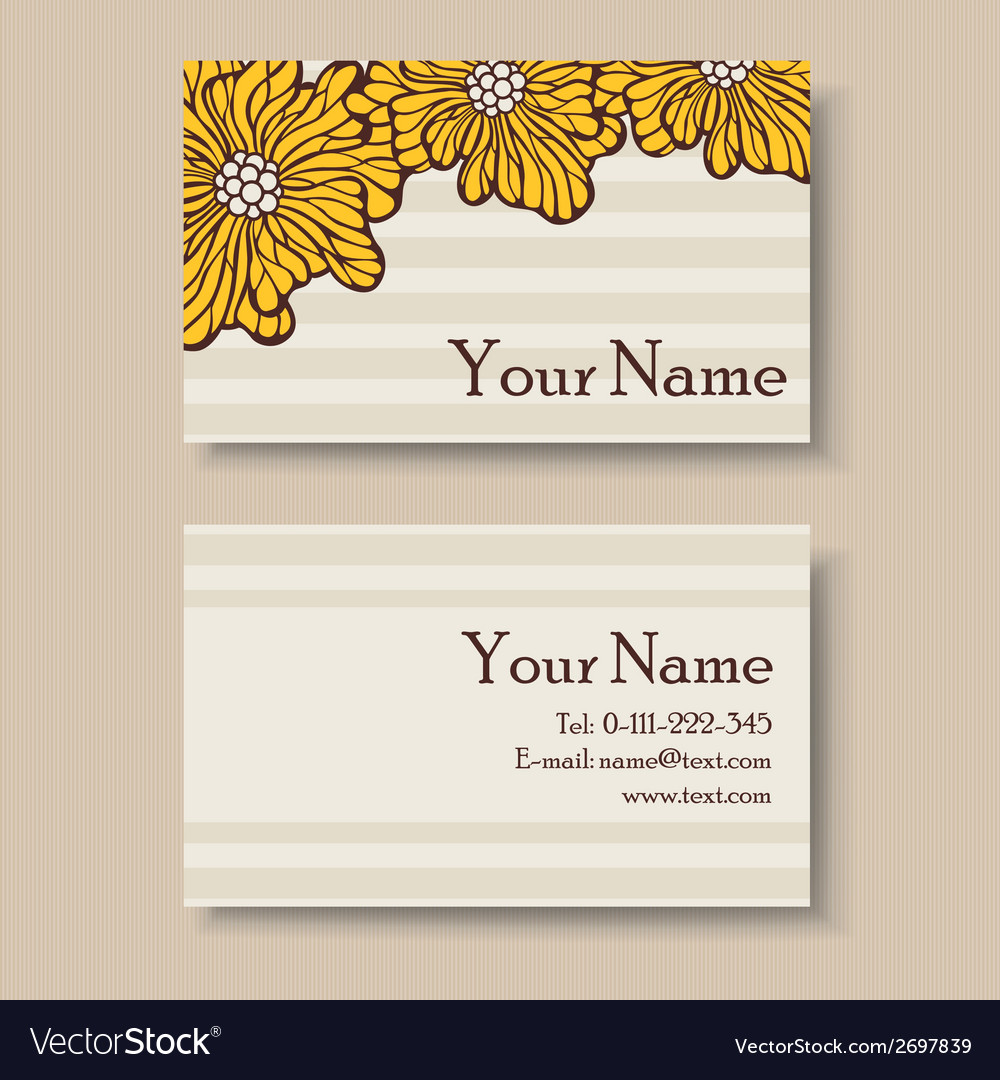 Business floral card with yellow flowers vector | Price: 1 Credit (USD $1)