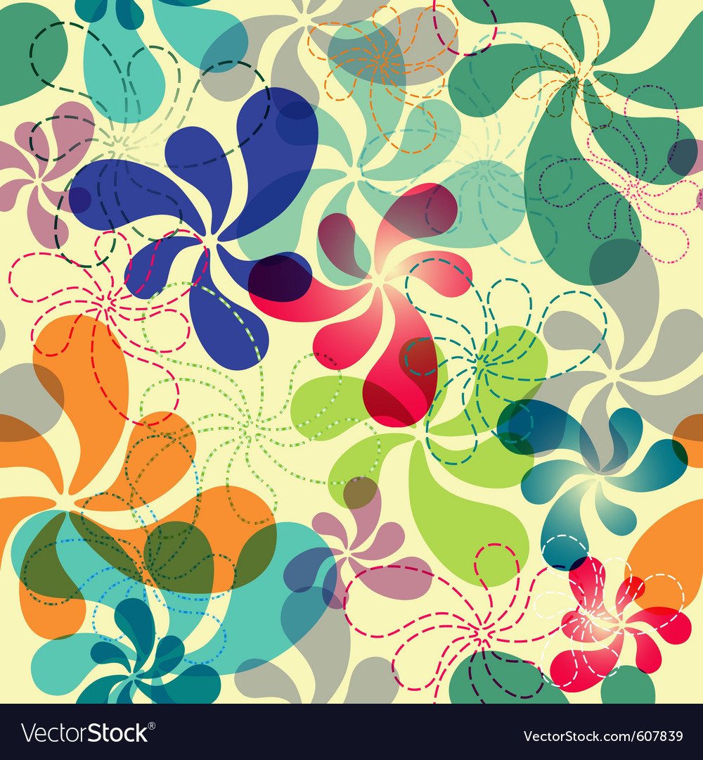Effortless floral pattern with vivid flowers eps1 vector | Price: 1 Credit (USD $1)