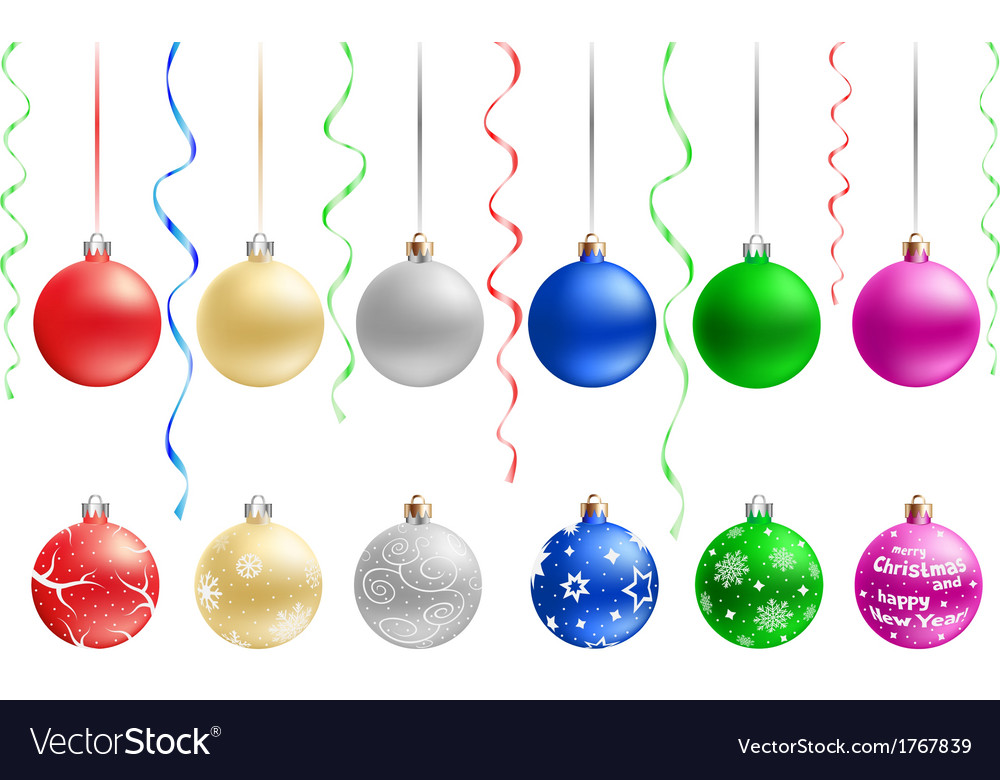 Multicolored christmas baubles vector | Price: 1 Credit (USD $1)