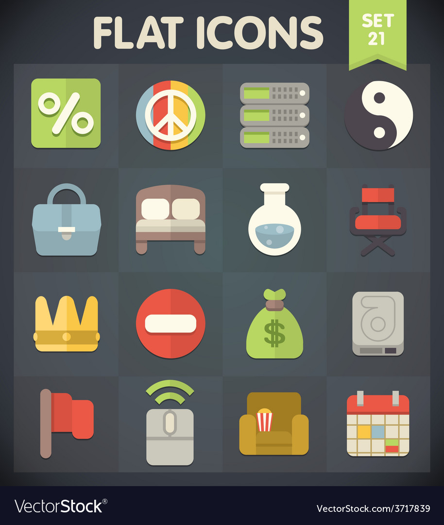 Universal flat icons set for applications 21 vector | Price: 1 Credit (USD $1)