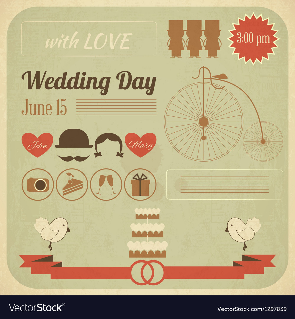 Wedding day invitation infographics card vector | Price: 1 Credit (USD $1)