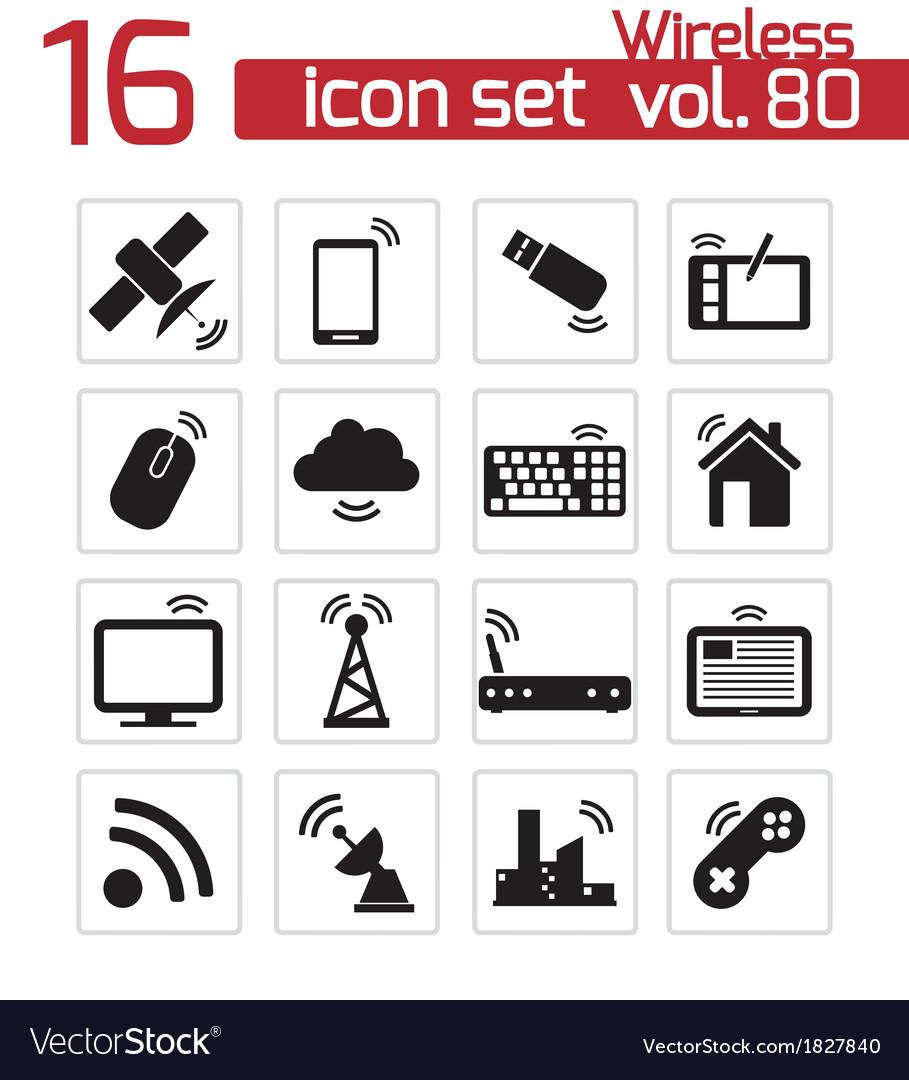 Black wireless icons set vector | Price: 1 Credit (USD $1)