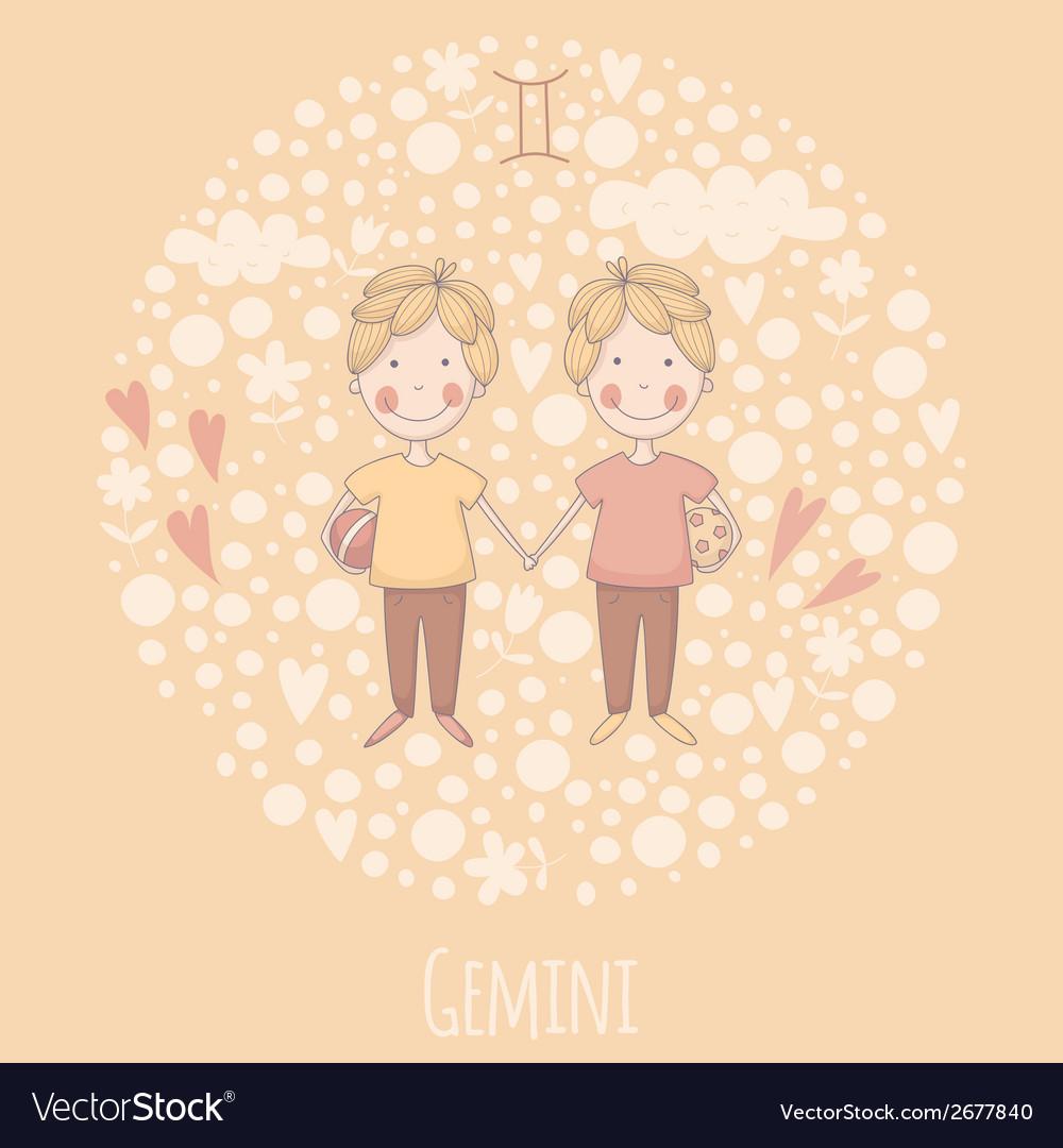 Cartoon of the twins gemini vector   Price: 1 Credit (USD $1)