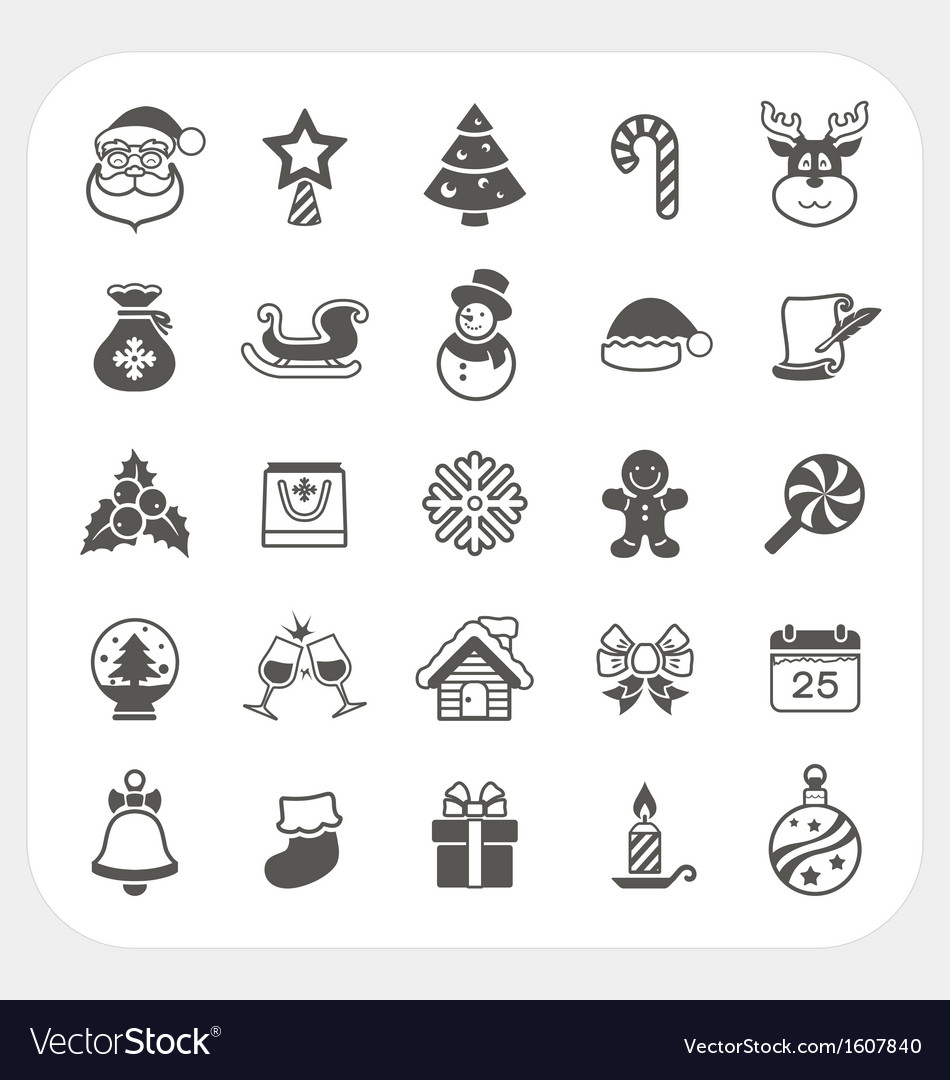 Christmas and winter icons set vector | Price: 1 Credit (USD $1)