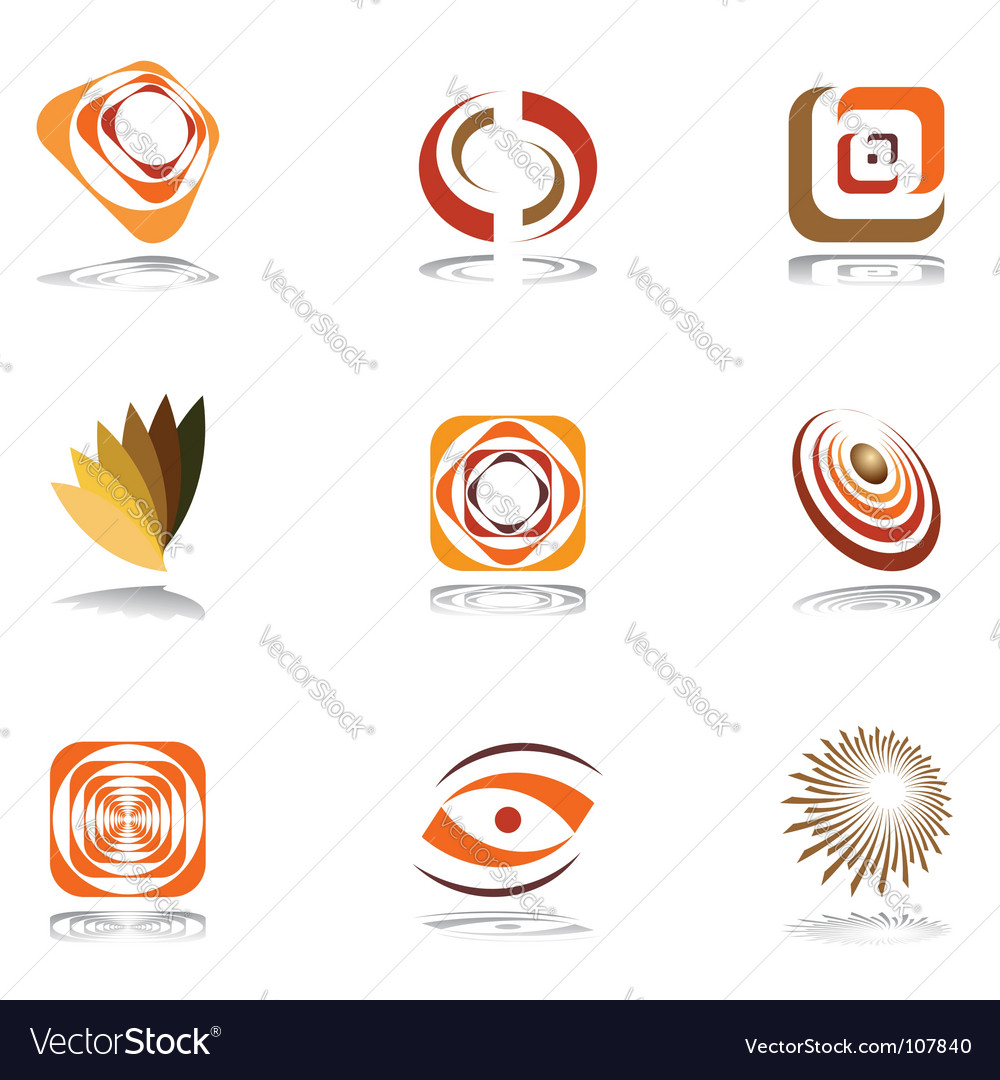 Design elements in warm colors vector | Price: 1 Credit (USD $1)