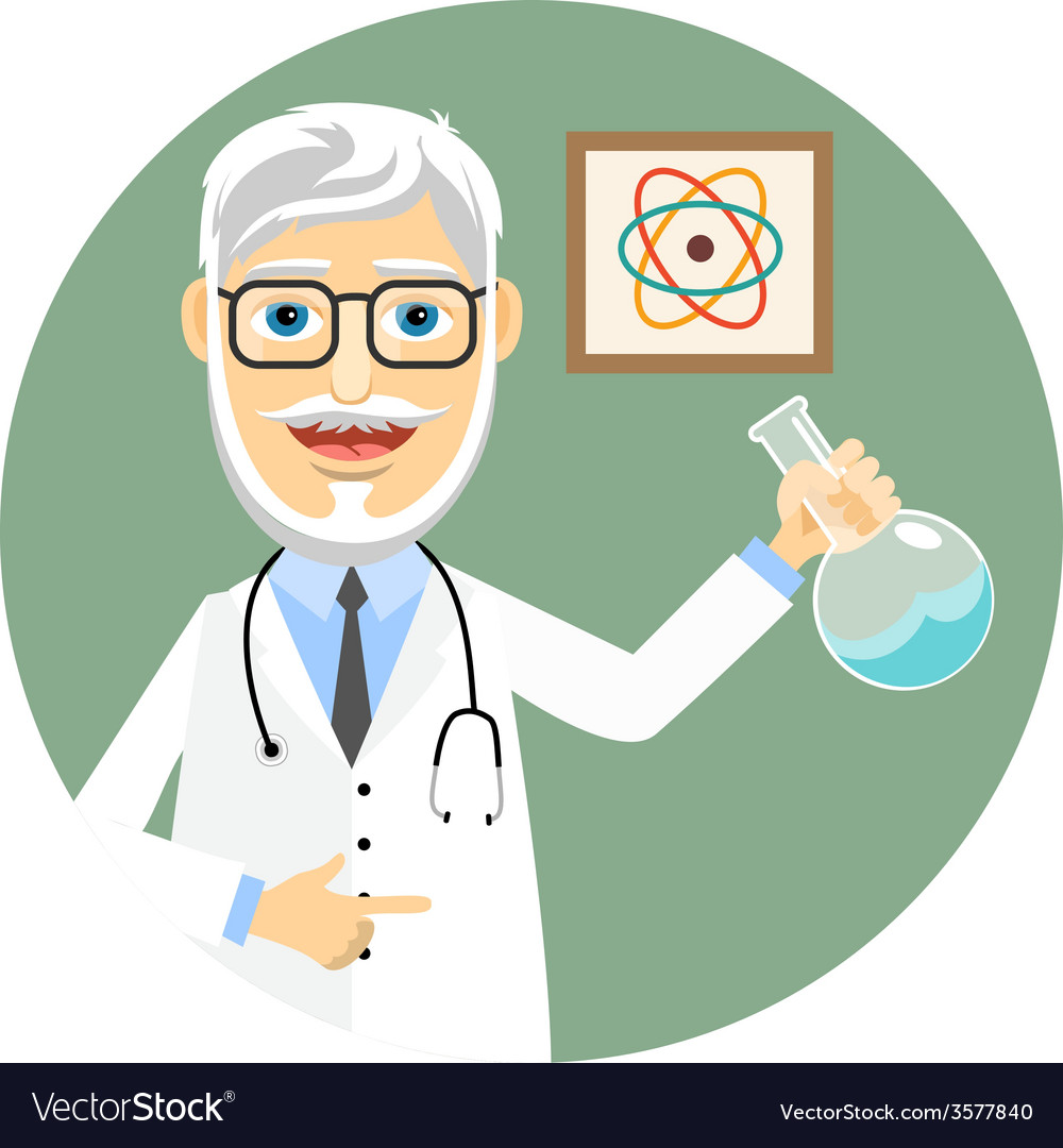 Elderly doctor doing chemical experiments vector | Price: 1 Credit (USD $1)