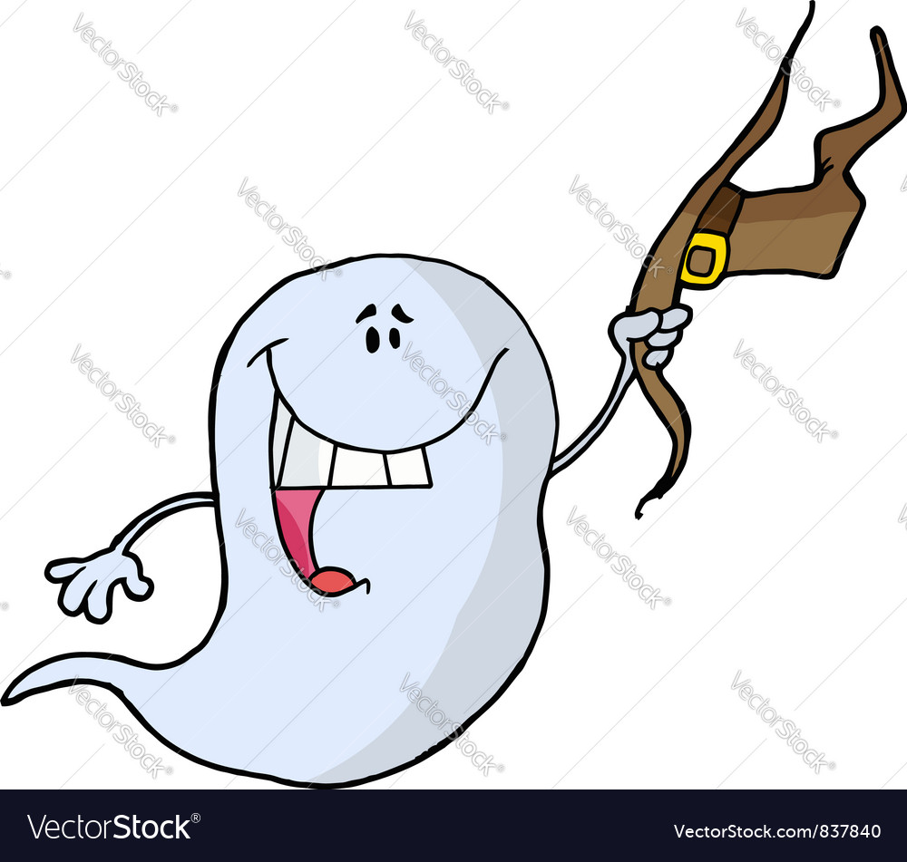Ghost holding his hat and smiling vector | Price: 1 Credit (USD $1)