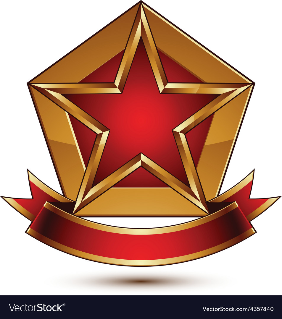 Golden stylized symbol with red star and glamorous vector | Price: 1 Credit (USD $1)