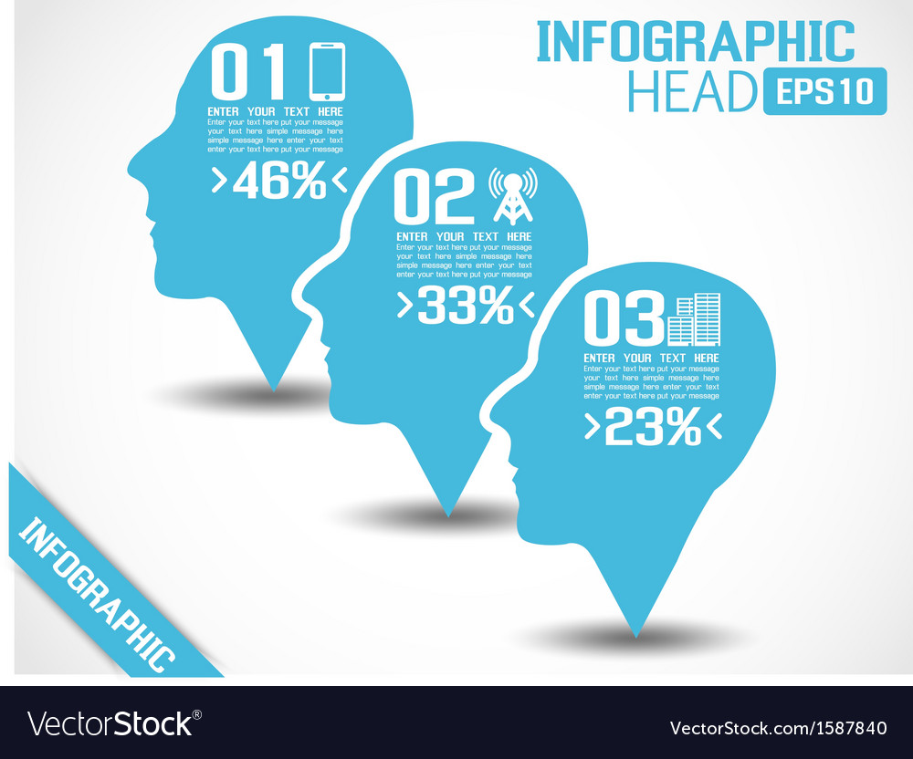 Infographic head blue vector | Price: 1 Credit (USD $1)