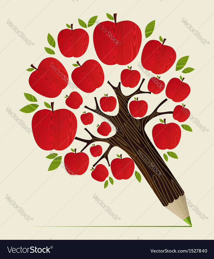 Red apples tree pencil concept vector | Price: 1 Credit (USD $1)