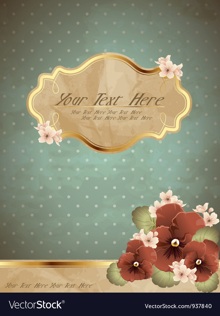 Romantic blue vintage banner with flowers vector | Price: 1 Credit (USD $1)