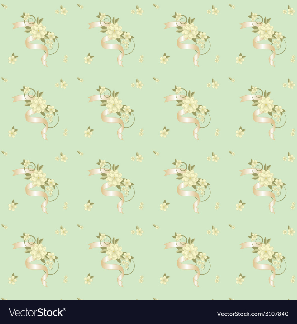 Seamless background with flowers and ribbons vector | Price: 1 Credit (USD $1)
