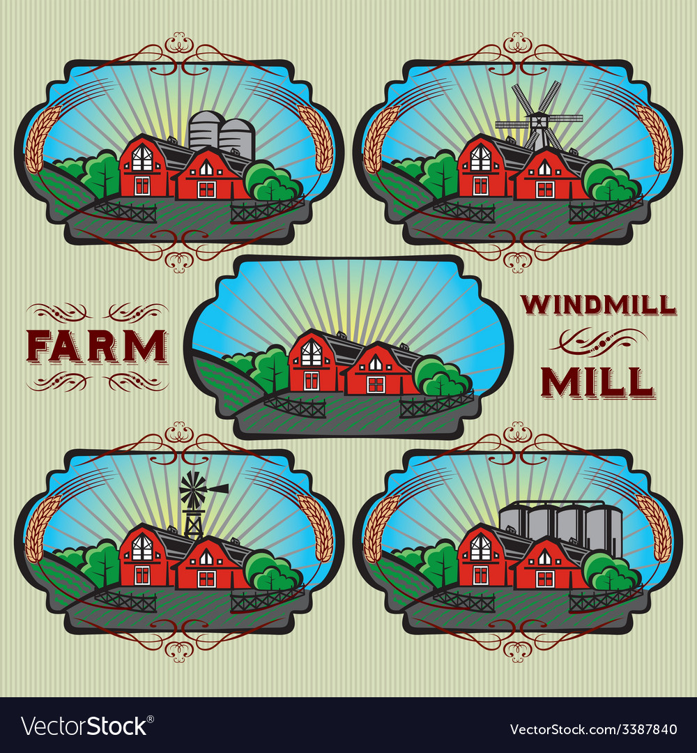 Set of farm mill windmill rural landscape vector | Price: 1 Credit (USD $1)